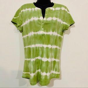 NWT - Women's Chaps Lime Green Tye Dyed Shirt